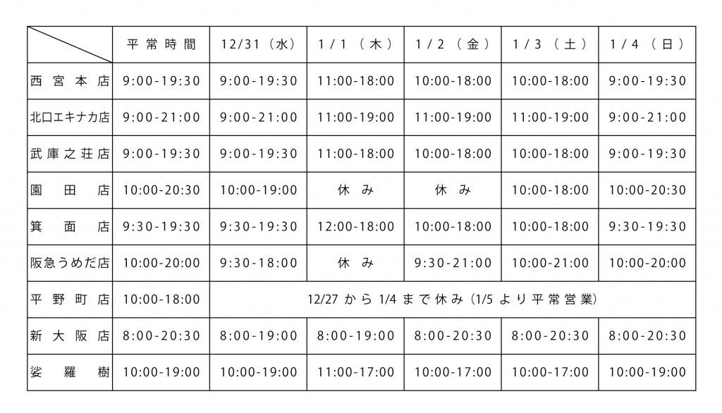年末年始の営業時間一覧